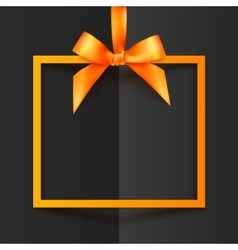 Orange gift box frame with silky bow and ribbon on vector image