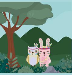 Owl and rabbit cute hippie cartoon vector