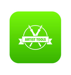 Painting shop icon green vector