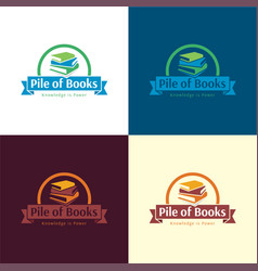 pile books logo and icon vector image