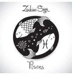 pisces zodiac sign horoscope circle emblem in vector image