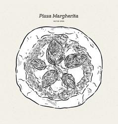 Pizza margherita hand draw sketch vector