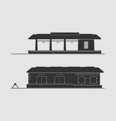 Railway station and goods shed vector