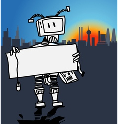Robot holding a blank information board vector image