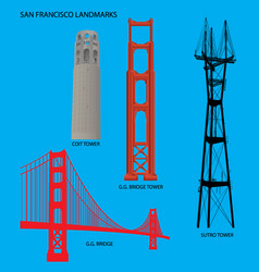san francisco golden gate bridge and landmarks vector image