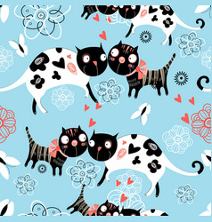 Seamless graphic pattern of enamored cats vector