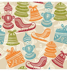 seamless holiday winter pattern vector image