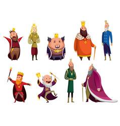 Set cartoon kings wearing crown and mantle vector