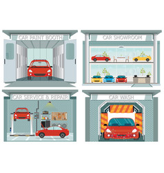 Set of car service station vector