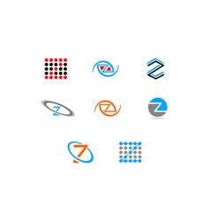 set of initial letter z logo template design vector image
