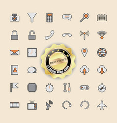 set of perfect icons for business technology and vector image