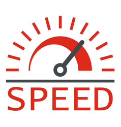 Speed dashboard logo flat style vector
