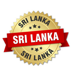 Sri lanka round golden badge with red ribbon vector