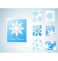 Stamps with snowflakes vector image