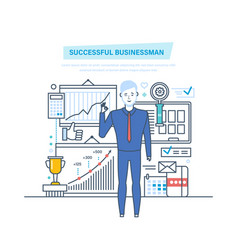 Successful businessman success at work learning vector