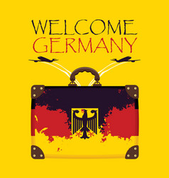 Suitcase with the flag of germany and planes vector