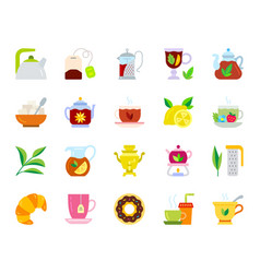 tea simple flat color icons set vector image