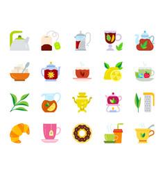 tea simple flat color icons set vector image