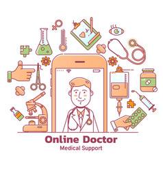 telemedicine and online doctor consultation vector image
