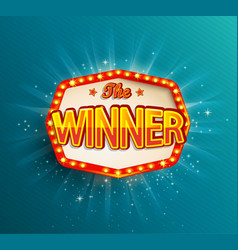 the winner retro banner with glowing lamps vector image