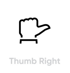 thumb up right down icon editable line vector image