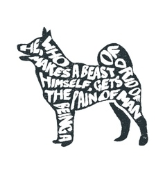 Typographic poster with dog silhouette vector image