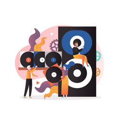 vintage vinyl music concept for web banner vector image