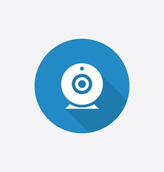 web camera Flat Blue Simple Icon with long shadow vector image