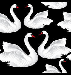 white birds seamless pattern wildlife background vector image