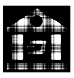 white halftone dash bank building icon vector image