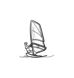 windsurfing man hand drawn outline doodle icon vector image