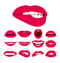 Woman lips expression icons set vector