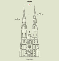 zagreb cathedral croatia vector image