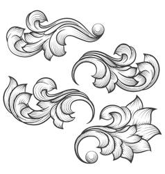 Baroque engraving leaf scroll vector