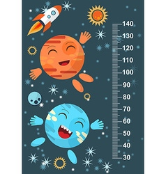Funny planet on the background of stars meter wall vector image