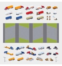 Heavy trucks parking lot constructor vector image