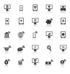 online banking icons with reflect on white vector image vector image