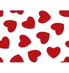 Seamless background of red hearts on white vector image