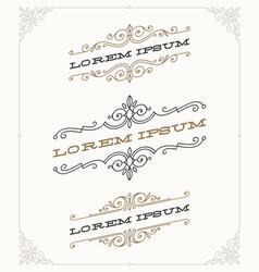 set of elegant vintage ornamental emblems vector image vector image