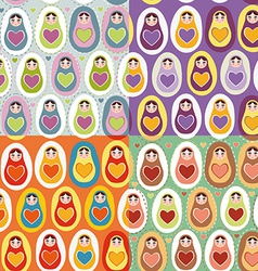 Set of four Seamless pattern Russian dolls vector image vector image