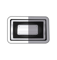 sticker rectangle grille perforated frame with vector image vector image
