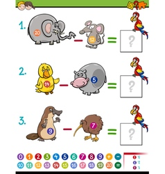 subtraction educational game for kids vector image vector image