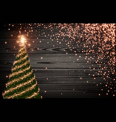 wooden background with green christmas tree vector image vector image