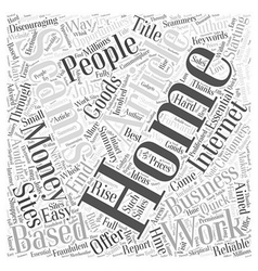 Avoiding Work at Home Employment Scams Word Cloud vector image vector image