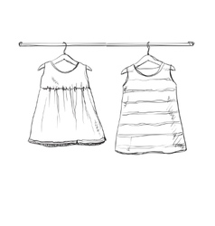 Baby dress sketch Clothes on the hanger vector image
