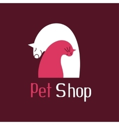 Cat and dog best friends sign for pet shop logo vector image vector image