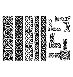 Celtic patterns and celtic ornament corners vector image