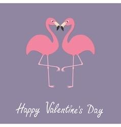 Pink flamingo couple neck heart shape Exotic vector image vector image