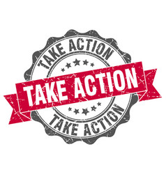 take action stamp sign seal vector image vector image