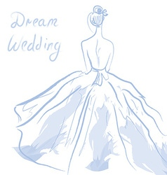 Wedding invitation or card with girl and dress vector image vector image